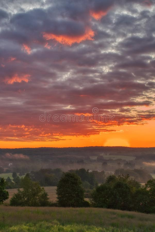 Beautiful scenery of the sunrise in the countryside of Northwest Pennsylvania. The beautiful scenery of the sunrise in the countryside of Northwest Pennsylvania stock images