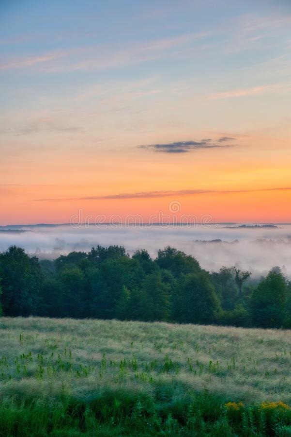 Beautiful scenery of the sunrise in the countryside of Northwest Pennsylvania. The beautiful scenery of the sunrise in the countryside of Northwest Pennsylvania stock photography