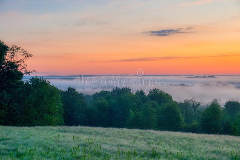 Beautiful scenery of the sunrise in the countryside of Northwest Pennsylvania. The beautiful scenery of the sunrise in the countryside of Northwest Pennsylvania royalty free stock photography