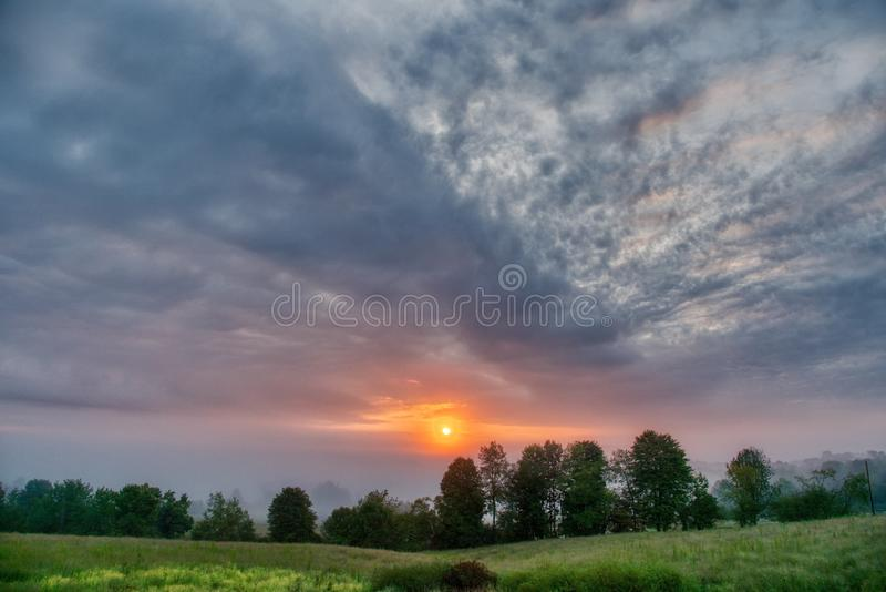 Beautiful scenery of the sunrise in the countryside of Northwest Pennsylvania. The beautiful scenery of the sunrise in the countryside of Northwest Pennsylvania royalty free stock photos