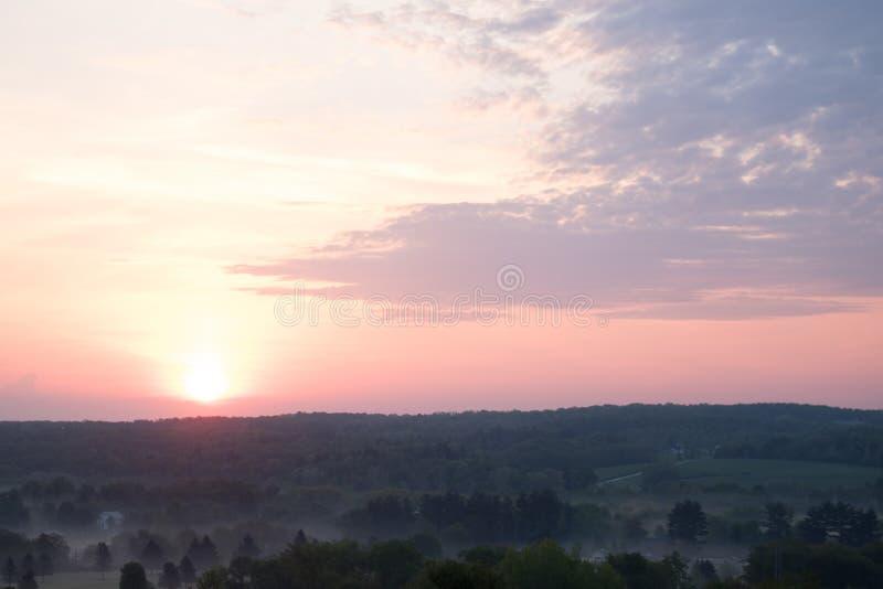 Beautiful scenery of the sunrise in the countryside of Northwest Pennsylvania. The beautiful scenery of the sunrise in the countryside of Northwest Pennsylvania stock photos
