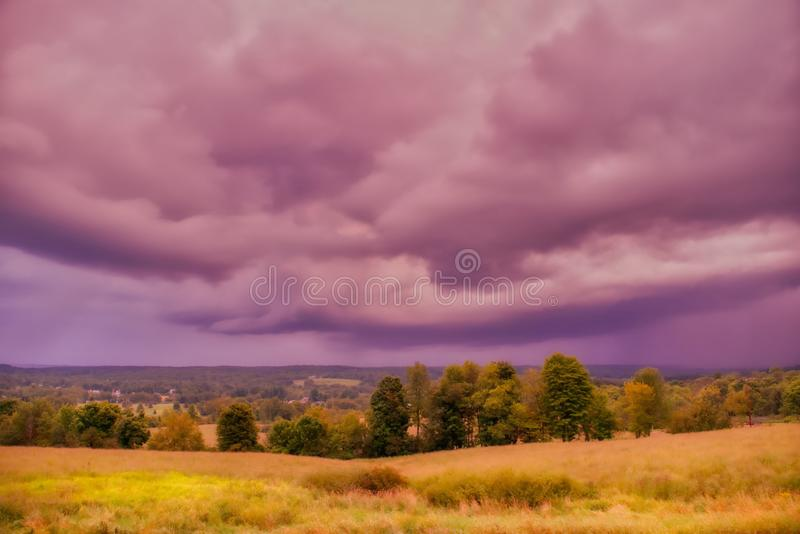Beautiful scenery of the sunrise in the countryside of Northwest Pennsylvania. The beautiful scenery of the sunrise in the countryside of Northwest Pennsylvania royalty free stock images