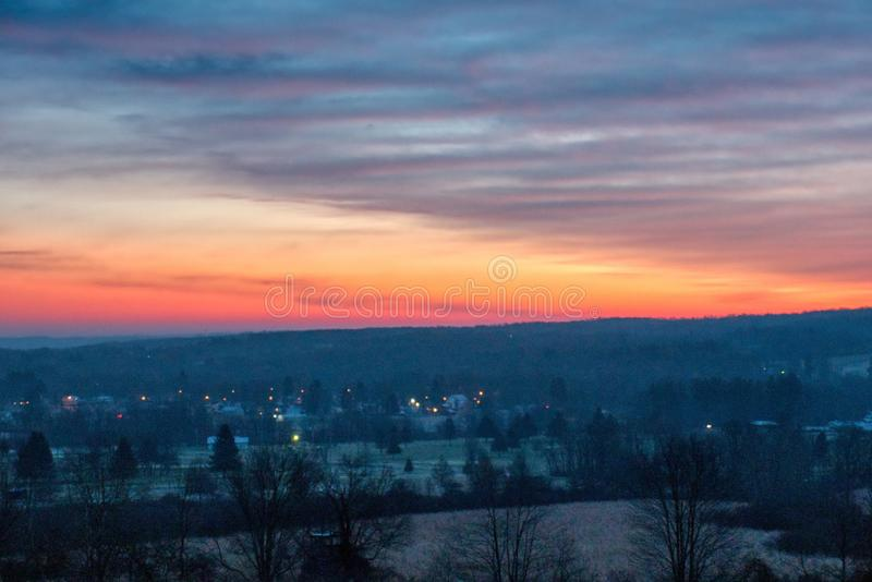 Beautiful scenery of the sunrise in the countryside of Northwest Pennsylvania. The beautiful scenery of the sunrise in the countryside of Northwest Pennsylvania royalty free stock image