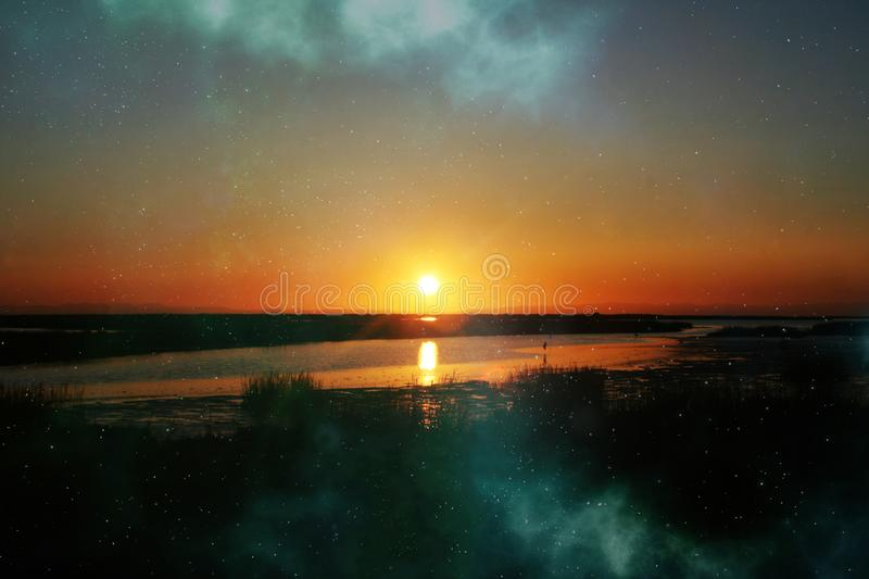 Beautiful Scenic California Sunrise With Abstract Galaxy royalty free stock photo