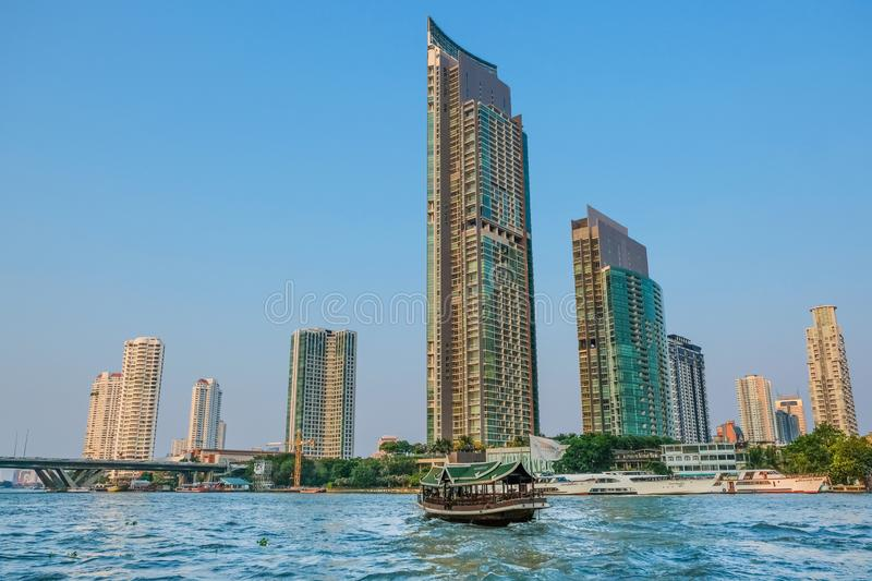 The Beautiful Scenic On The Chao Phraya River, Bangkok, Thailan. I walk to the Chao Phraya River first, which is very close to the hotel. This is the first time royalty free stock images