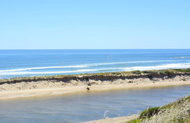 Beautiful scenic coastline estuary where Onkaparinga River. Flows into the ocean at Port Noarlunga, South Australia stock image