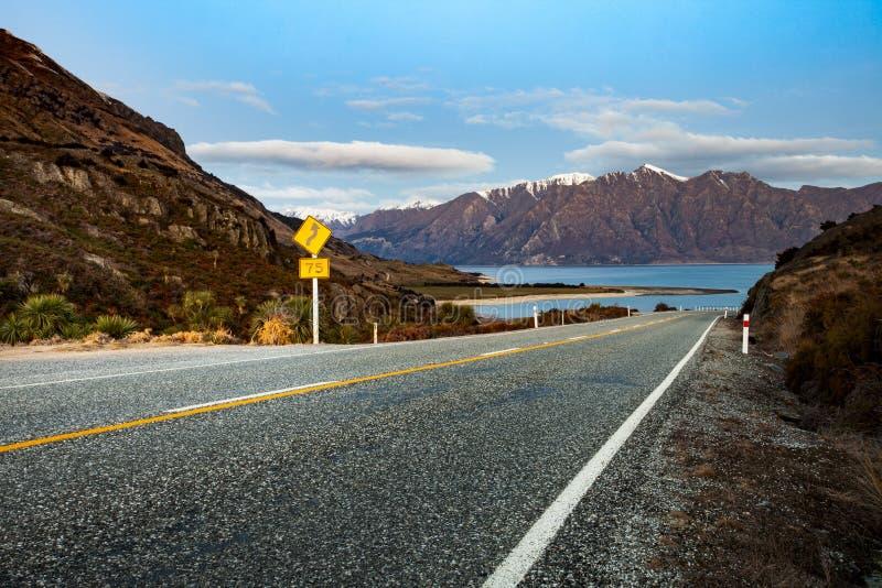 Beautiful scenic of lake hawea southland new zealand stock photos