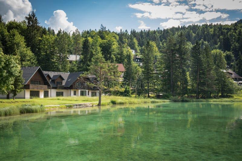 Beautiful scenic lake jasna in summertime, kranjska gora, slovenia stock image