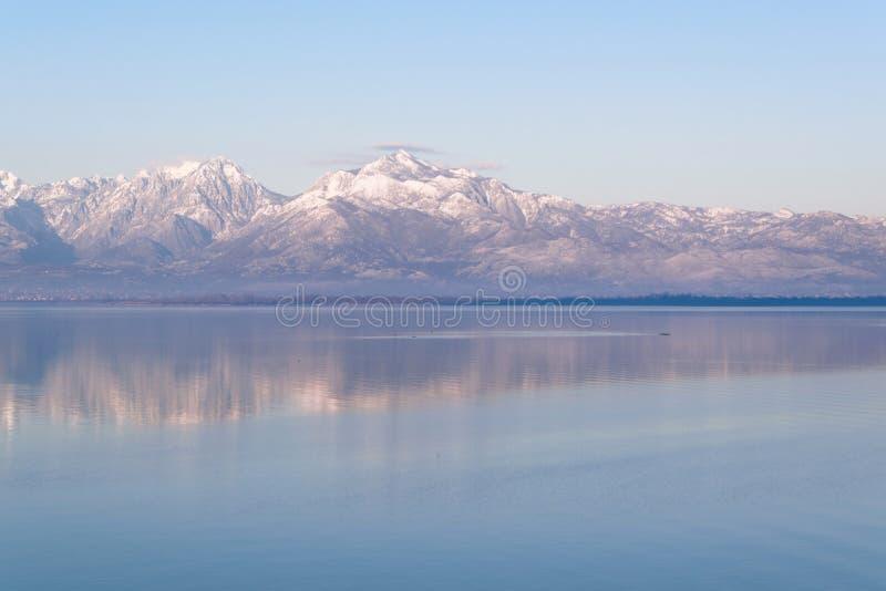 Beautiful scenic landscape of Shkodra lake, mountains reflection. Europe royalty free stock photos