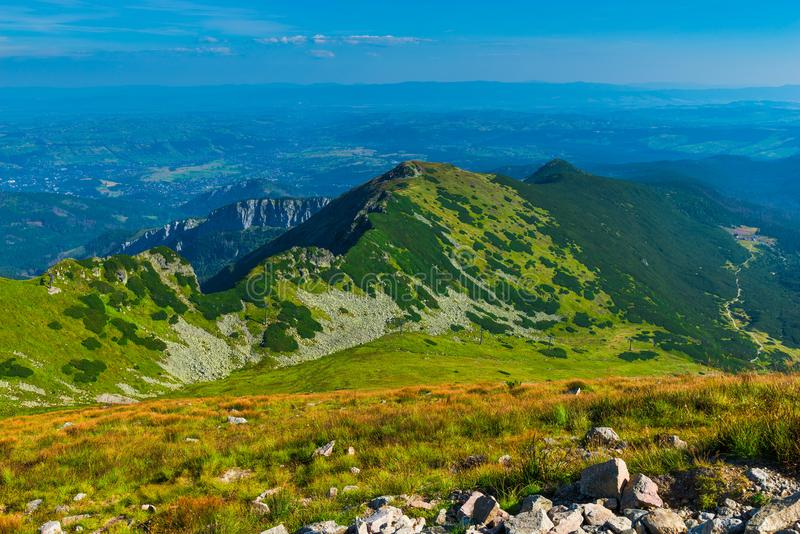 Beautiful scenic landscape of the Tatra Mountains. In Poland royalty free stock image