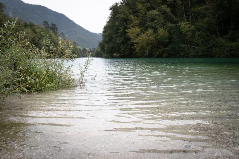 Beautiful scenic landscape view on river soca in slovenia. Beautiful scenic landscape view on river soca royalty free stock photo