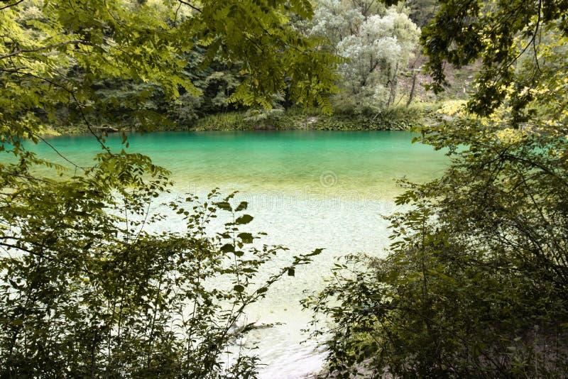 Beautiful scenic landscape view on river soca in slovenia. Beautiful scenic landscape view on river soca royalty free stock photos