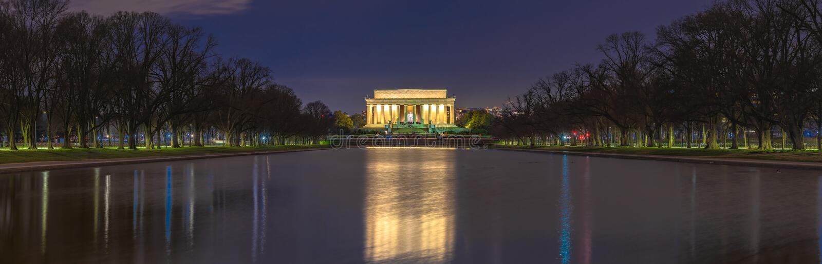 Beautiful scenic panorama night view of Abraham Lincoln memorial in the national mall, washington dc, united states. Landmark of. Capital city of USA stock images