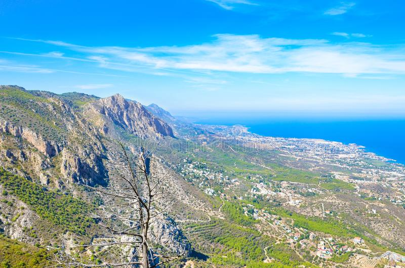 Beautiful scenic picture of Kyrenia region in Northern Cyprus taken with adjacent mountain range and Mediterranean. Photographed on a sunny day with blue sky stock photography