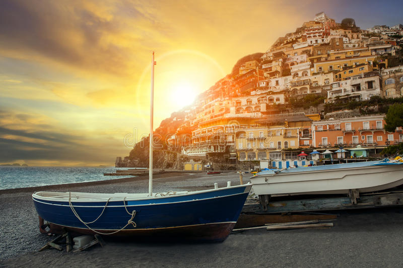 Beautiful scenic of positano beach sorrento town south italy imp. Ortant traveling destination of mediterranean sea royalty free stock images