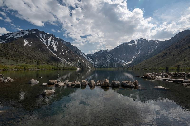 Beautiful scenic view of Convict Lake. Scenic view of Convict Lake at Lake Mammoths in California during the day stock photo