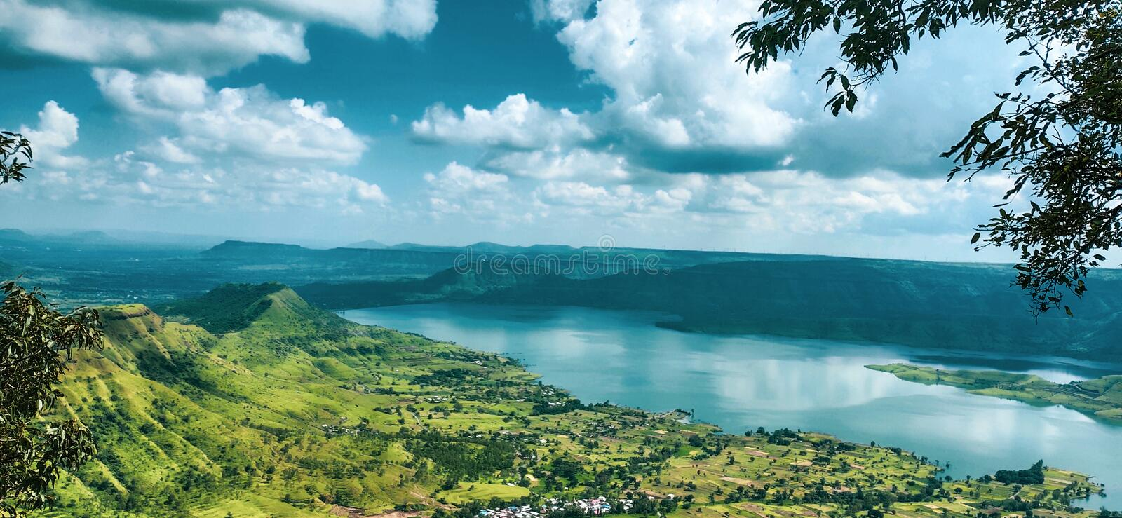Beautiful scenic view of mountains. Of kaas maharashtra stock photo