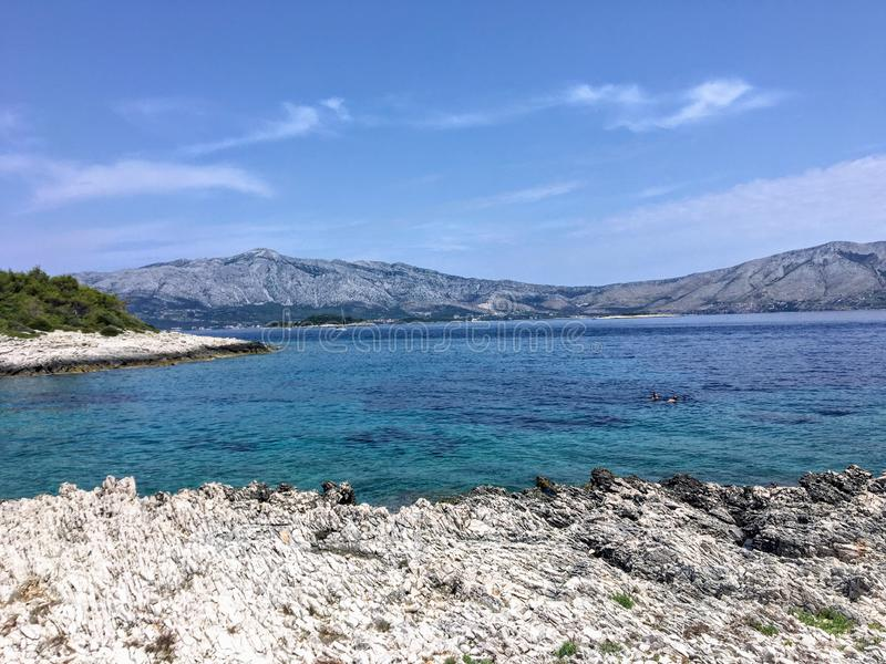 A beautiful scenic view of the turquoise colour water of a remote beach on Korcula island in Croatia. stock photography