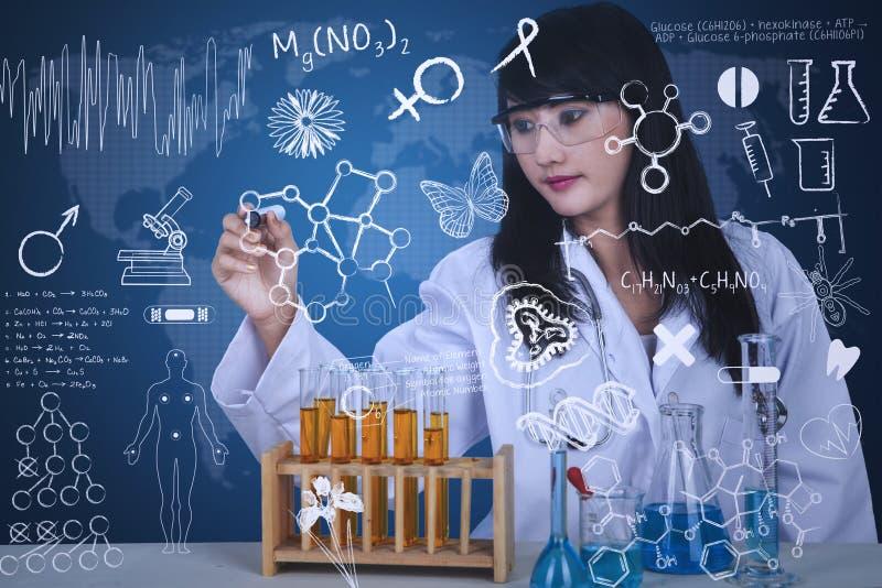 Download Beautiful Scientist Drawing Formula At Lab Stock Illustration - Image: 31588888