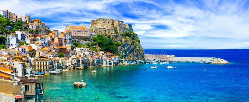 Beautiful Scilla village,panoramic view,Calabria,Italy. stock image