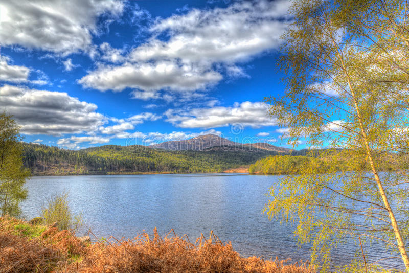 Beautiful Scottish Loch Garry Scotland UK lake west of Invergarry on the A87 south of Fort Augustus colourful hdr. Beautiful Scottish Loch Garry Scotland UK lake royalty free stock photography