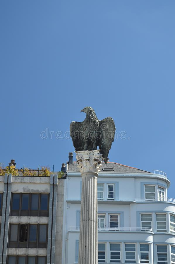 Beautiful Sculpture of an Imperial Eagle dedicated to Emperor Cesar Augusto in Santo Domingo Square in Lugo. Travel, Architecture, Holidays. August 3, 2015 stock images