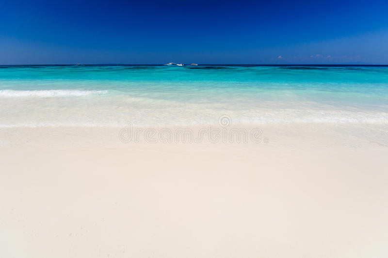 Beautiful sea,blue sky and clean beach in tachai island. Tachai Island is the famous of island in thailand. You can see beautiful sea, blue sky and clean beach royalty free stock photos