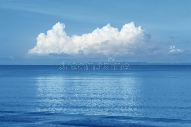 Beautiful sea and cloud sky at the horizon. Seascape background stock photography