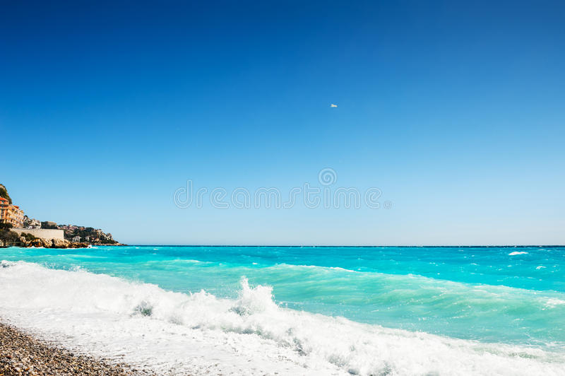 Beautiful sea coast in Nice, France. Cote d`azur, french riviera. Travel and vacation stock photo