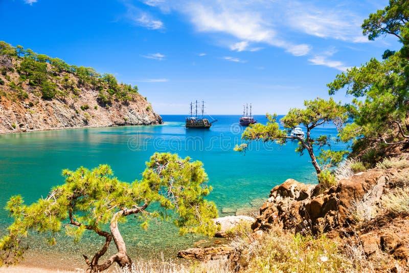 Beautiful sea coast near Kemer, Turkey. Beautiful sea coast `Paradise bay` near Kemer, Turkey. Summer landscape, sea view. Travel and vacation stock image