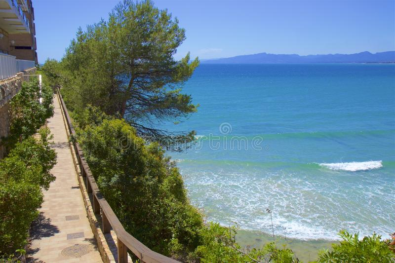 Coast in Salou, Costa Daurada, Spain. Beautiful sea front and beaches in Salou, Costa Daurada, Spain stock image