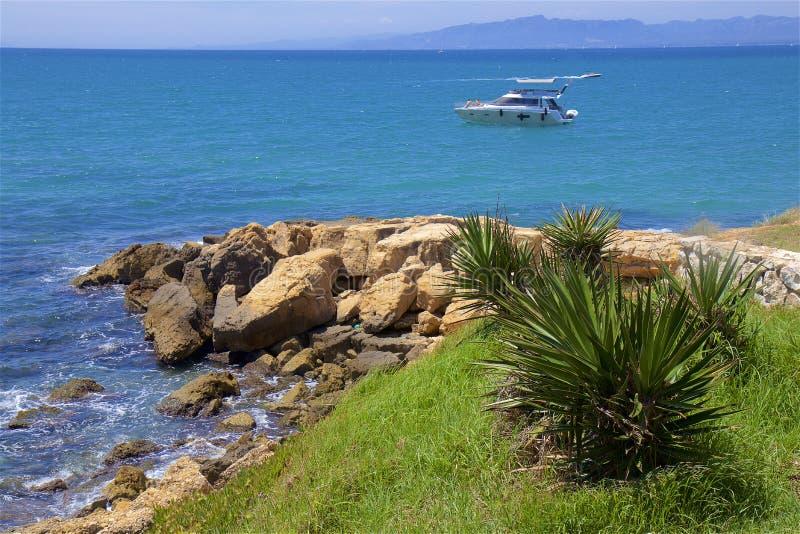 Coast in Salou, Costa Daurada, Spain. Beautiful sea front and beaches in Salou, Costa Daurada, Spain stock photo