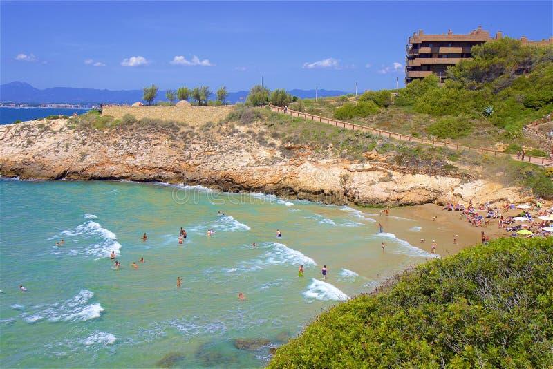 Coast in Salou, Costa Daurada, Spain. Beautiful sea front and beaches in Salou, Costa Daurada, Spain royalty free stock photography