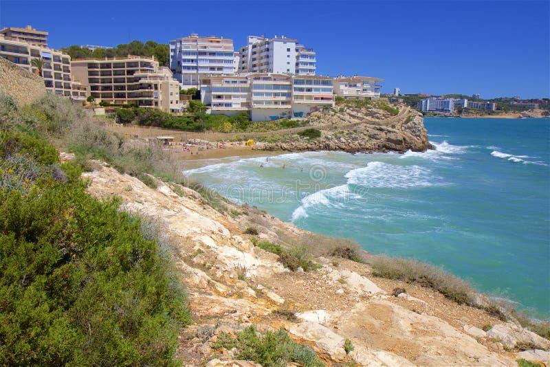 Coast in Salou, Costa Daurada, Spain. Beautiful sea front and beaches in Salou, Costa Daurada, Spain royalty free stock photos