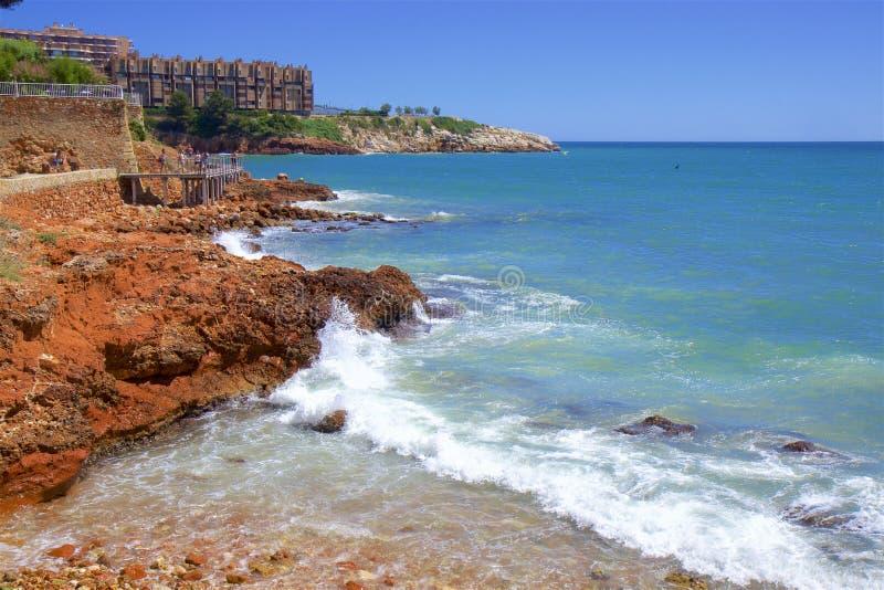 Playa de Capellans - Coast in Salou, Costa Daurada, Spain. Beautiful sea front and beaches in Salou, Costa Daurada, Spain royalty free stock photo