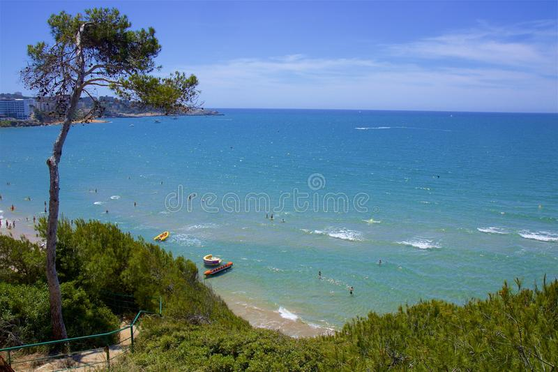 Playa Larga - Coast in Salou, Costa Daurada, Spain. Beautiful sea front and beaches in Salou, Costa Daurada, Spain stock photo