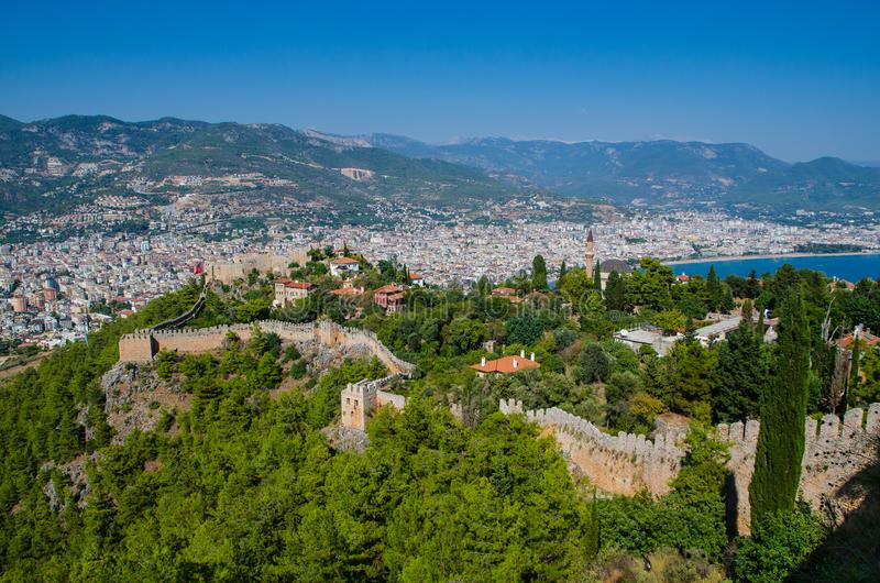 Beautiful sea landscape of Alanya Castle in Antalya district, Turkey. Ancient castle in the background of mountains. royalty free stock photo