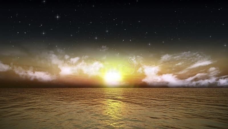 Beautiful sea and Night Sky. Beautiful sea Vibrant nature Night Sky royalty free stock photos