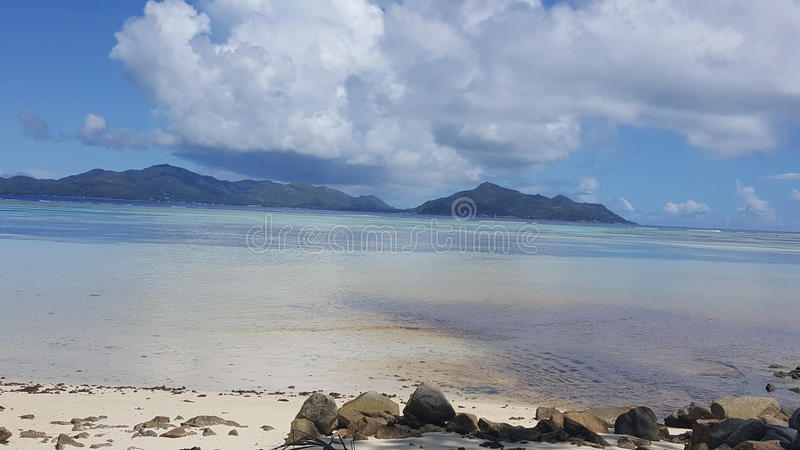 Beautiful sea of seychelles stock image
