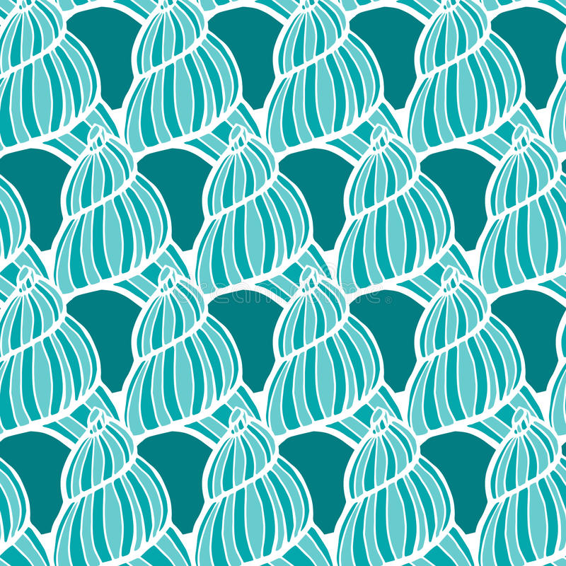 Beautiful sea shell set vector seamless pattern. stock photography