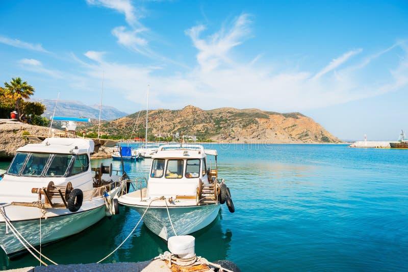 Beautiful sea shore with boats in Agia Galini, Crete, Greece royalty free stock photo