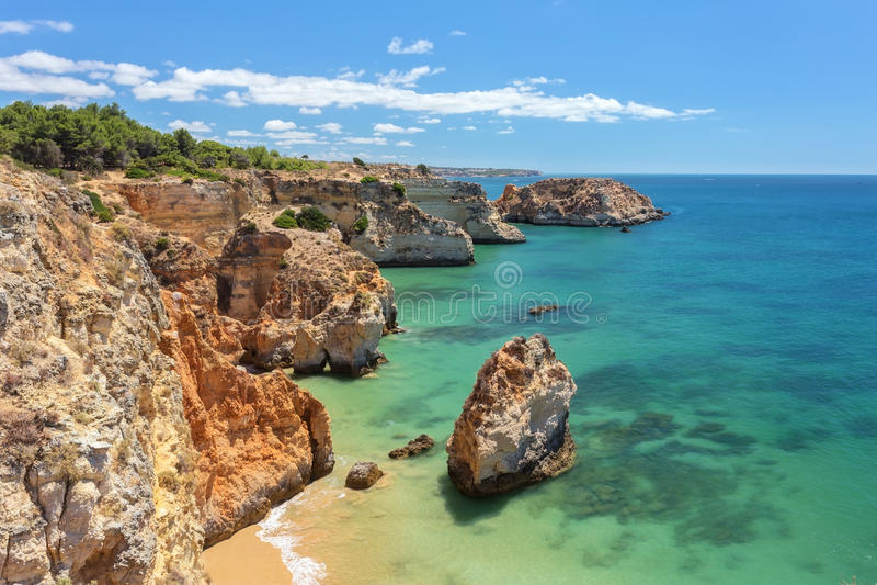Beautiful sea summer beach in Portugal. royalty free stock photos