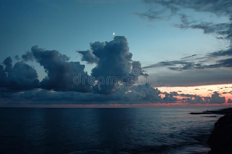 Beautiful sea sunset with clouds. Sea sunset with beautiful clouds stock photos