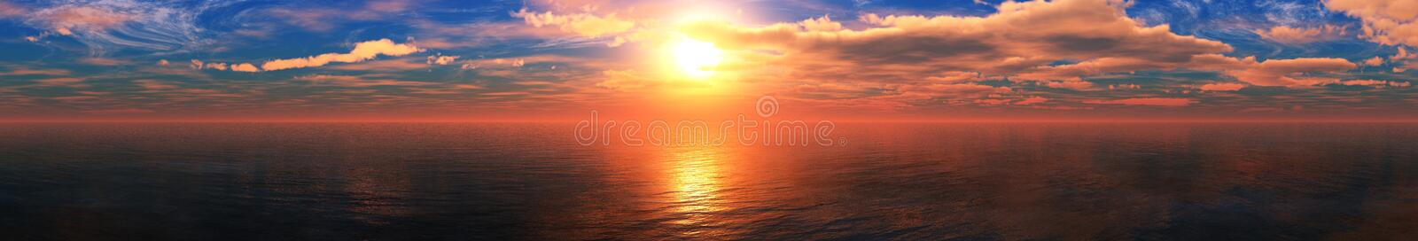 Beautiful sea sunset, panorama of the ocean royalty free stock photography