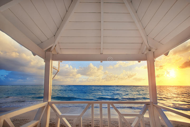 Beautiful sea view from the balcony of the lifegard post, sunrise shot stock photography