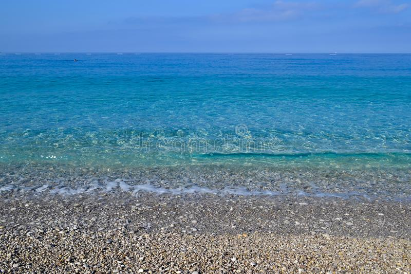 Beautiful sea view. Calm azure sea with breezes of the sun on the water. Mediterranean Sea.  royalty free stock image