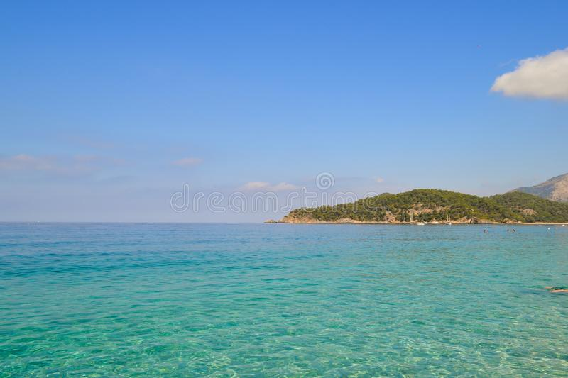 Beautiful sea view. Calm azure sea with breezes of the sun on the water. Mediterranean Sea.  stock photos
