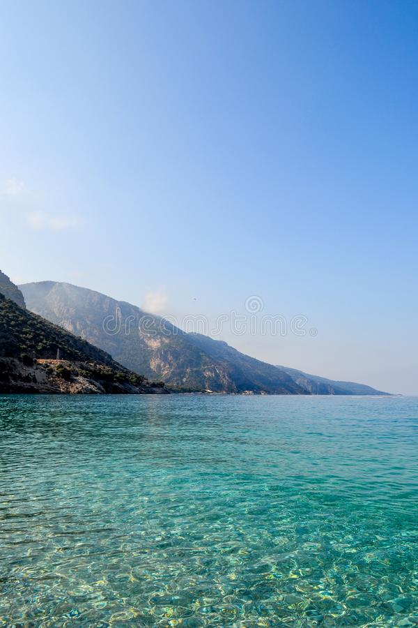 Beautiful sea view. Calm azure sea with breezes of the sun on the water. Mediterranean Sea.  stock photo