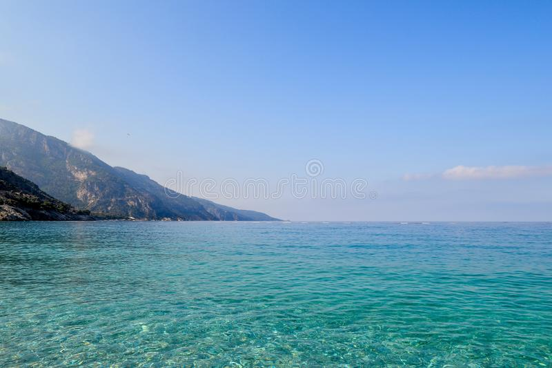 Beautiful sea view. Calm azure sea with breezes of the sun on the water. Mediterranean Sea.  stock photography