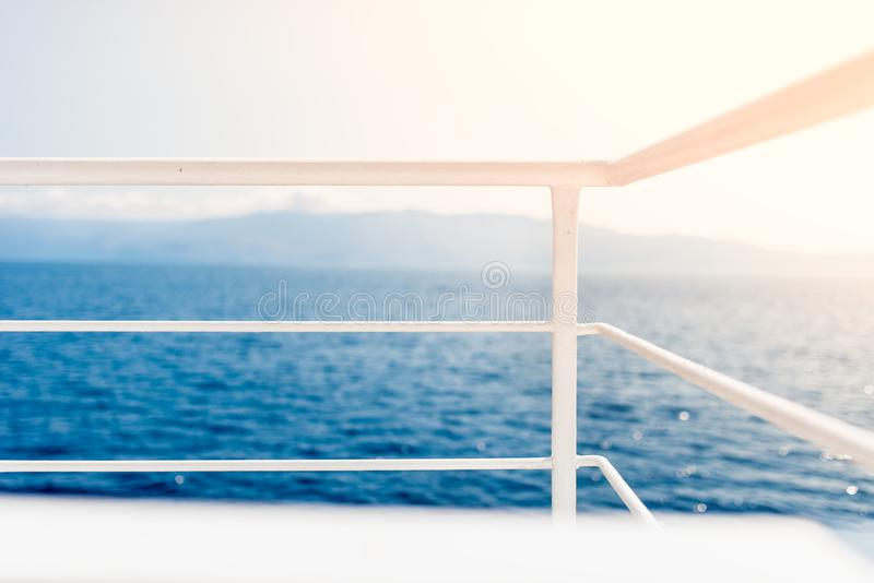 sea view from cruise ship, motorboat sailing on ocean waters royalty free stock photo